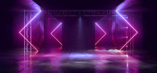 Smoke Sci Fi Futuristic Triangle Arc Gate Neon Laser Pantone Purple Pink Blue Modern Alien Fashion Dance Club Showroom Garage Tunnel Corridor Concrete Cyber Virtual 3D Rendering