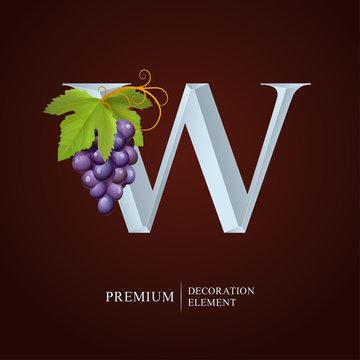 Elegant Wine Logo. Monogram Letter W. Royal silver letter W with Grapes, Leaf and Curl. Calligraphic graceful template art logotype. Design emblem for Wine, Menu, Restaurant, Label, Royalty, Initial.