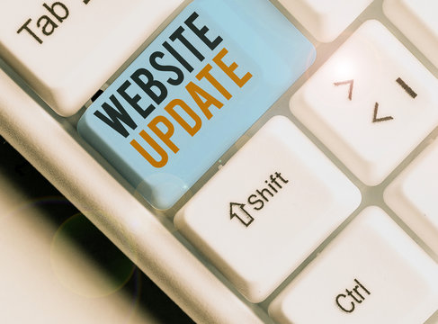 Writing note showing Website Update. Business concept for keeping the webpage and content up to date and trendy