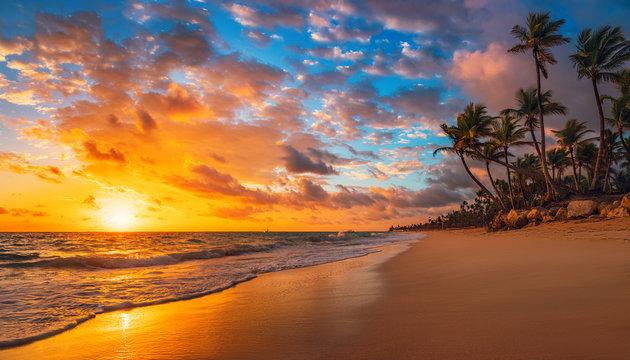 Landscape of paradise tropical island beach