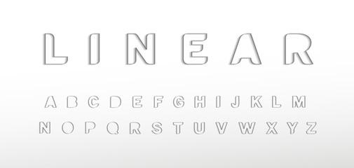 Fotomurales - Linear border alphabet. Thin border line font, minimal type for modern futuristic logo, elegant monogram, digital device, posters and hud web graphic. Minimal style letters, vector typography design