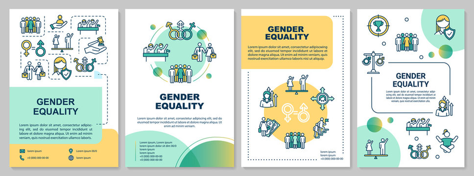 Gender equality brochure template. Men and women equal rights. Flyer, booklet, leaflet print, cover design with linear icons. Vector layouts for magazines, annual reports, advertising posters