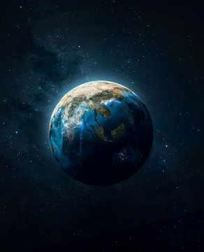 Earth planet ball in the deep space. Sci-fi wallpaper. Blue ocean and continents. Elements of this image furnished by NASA