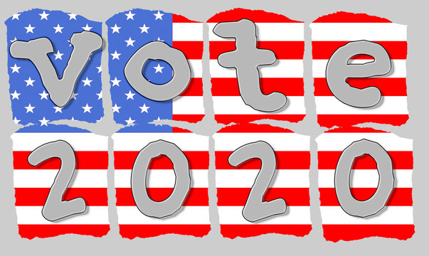 Silver hand lettering style typography vote 2020 red white and blue stylized  artistic American flag for the Democratic primary on Super Tuesday etc and the general electionon Election Day in the USA