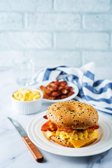 Fried bacon cheese egg salad  bagel