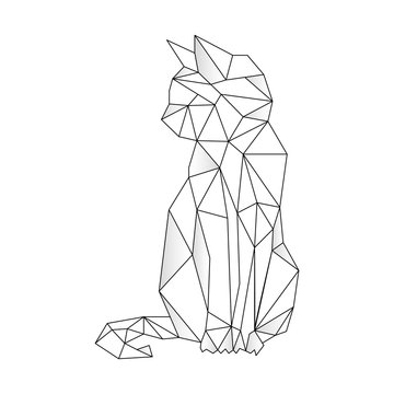 Cat stylized triangle polygonal model. Vector illustration
