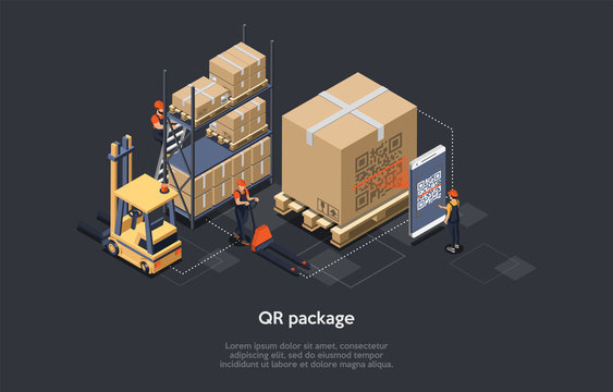 Isometric Concept Of Warehouse, Logistic Delivery Service And Staff. Workers Are Sorting, Scanning Goods. Worker Is Scanning Qr Code Of Package Before Loading And Shipment. Vector illustration