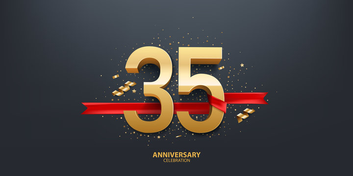 35th Year anniversary celebration background. 3D Golden number wrapped with red ribbon and confetti on black background.