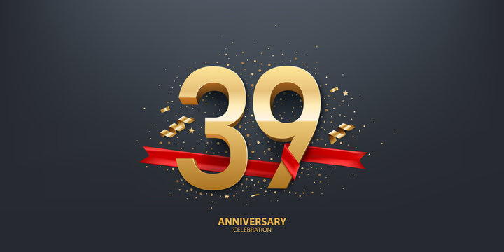39th Year anniversary celebration background. 3D Golden number wrapped with red ribbon and confetti on black background.