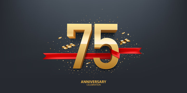 75th Year anniversary celebration background. 3D Golden number wrapped with red ribbon and confetti on black background.