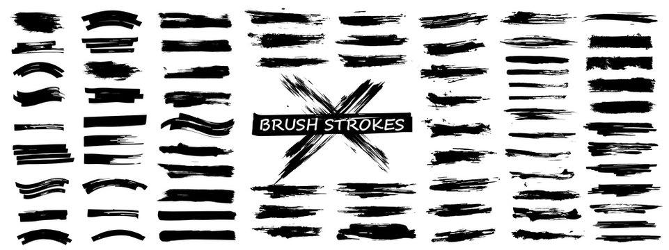 Diverse brush stroke set. Isolated grunge silhouette set. Big collection, Black ink grunge, ink splatter, dirt lines. Vector illustration brush set