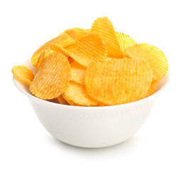 Bowl with tasty potato chips on white background