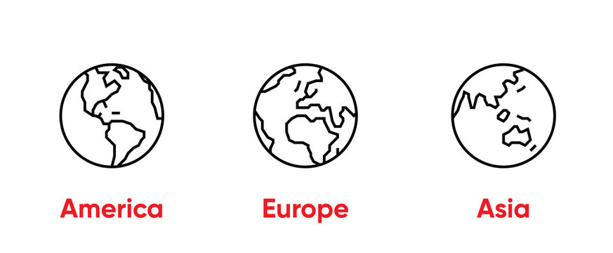 Globe of America, Europe, Asia Thin Line Editable Stroke icons. Vector Template.
