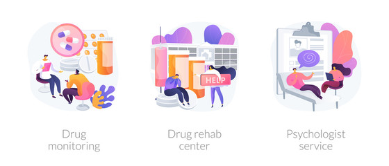 Addiction treatment, narcotic addict medication, recovery and rehabilitation. Drug monitoring, drug rehab center, psychologist service metaphors. Vector isolated concept metaphor illustrations. Fototapete