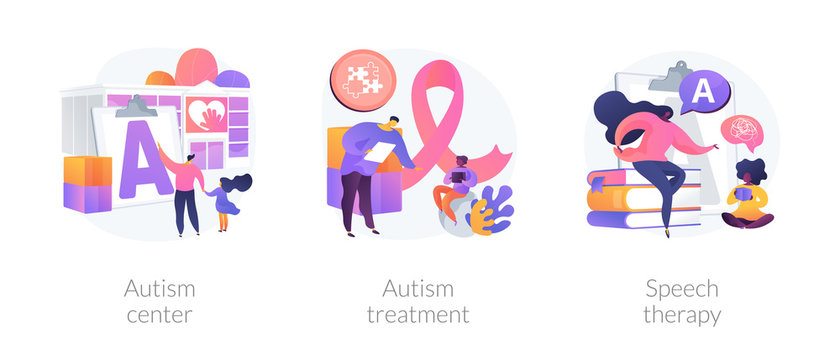 Autism spectrum disorder, neuroontogenetic disease, mental development lag. Autism center, autism treatment, speech therapy metaphors. Vector isolated concept metaphor illustrations.