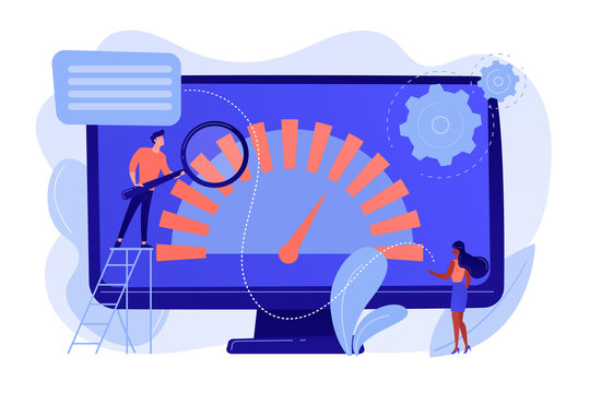 Tiny business people look at product performance indicator. Benchmark testing, benchmarking software, product performance indicator concept. Pinkish coral bluevector isolated illustration