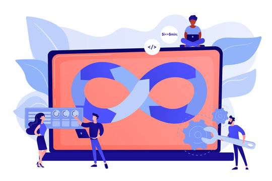 Programmers working on project. Website development methodology. Technical support. DevOps team, software development team, DevOps workflow concept. Pinkish coral bluevector isolated illustration