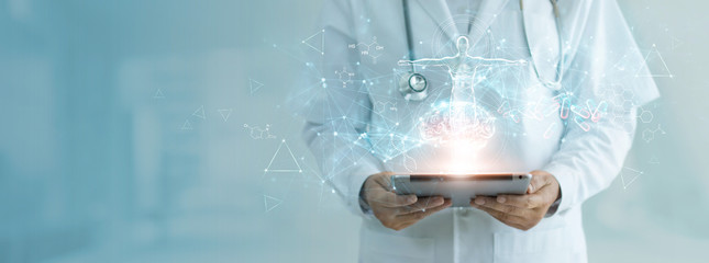 Medicine doctor holding electronic medical record on tablet, Brain testing result, DNA, Digital healthcare and network connection on hologram interface, Science, Medical technology and networking.