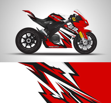 Motorcycle wrap decal and vinyl sticker design. Concept graphic abstract background for wrapping vehicles, motorsport, Sport bike, motocross, supermoto and livery. Vector illustration.