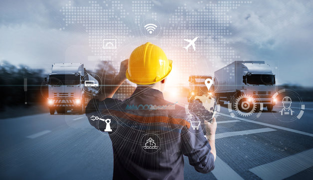 Transportation and Logistics, Manager technical working with truck on motorway and industrial container cargo with icon of network distribution on global network connection.