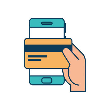 hand and credit card with smartphone design