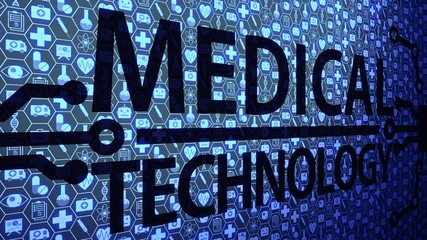 Medical Technology Big Picture Background HUD Composed of Icons Set with Blue Light Ver.3 of 4 (Different Angle)