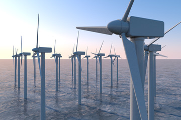 Wind turbines above sea level. Stores energy in the wind. 3D illustration