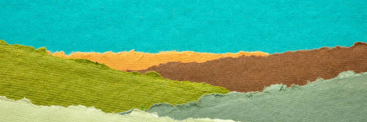 abstract landscape created with handmade Indian paper