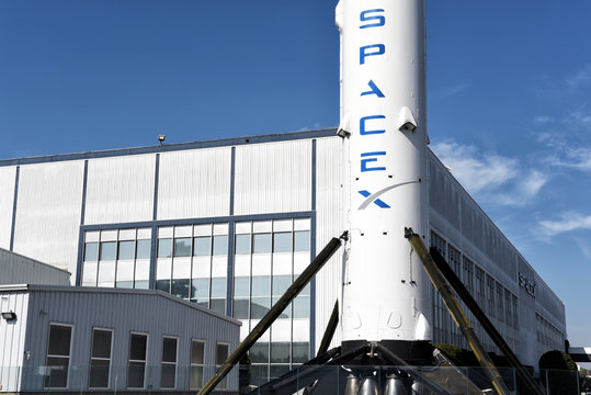 HAWTHORNE, CALIFORNIA - 17 FEB 2020: Closeup of a Falcon 9 Booster rocket at Space Exploration Technologies Corp, trading as SpaceX, a private American aerospace company.