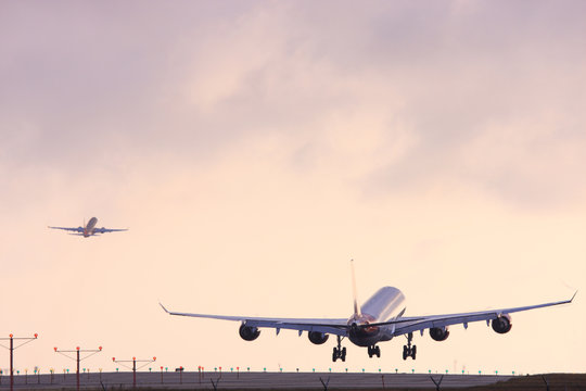 Airplane landing at Los Angeles International Airport