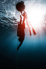 Wall Mural - Freediver descends along the rope into the depth while another freediver relaxes on the buoy