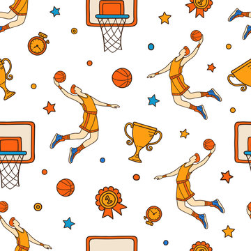 Colored seamless pattern of hand drawn basketball objects and symbols. Basketball doodle concept.