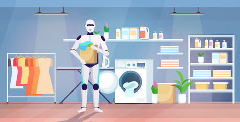 Wall Mural - robot putting dirty clothes into washing machine artificial intelligence technology housekeeping concept modern laundry room interior full length horizontal vector illustration