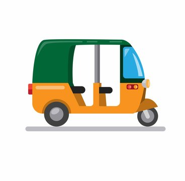 tuk tuk asian traditional transportation for taxi and tourism symbol icon in cartoon flat illustration vector isolated in white background