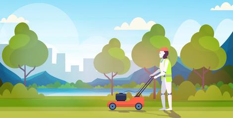 Wall Mural - modern robot cutting grass with lawn mower robotic gardener artificial intelligence technology gardening concept urban park landscape background horizontal full length vector illustration