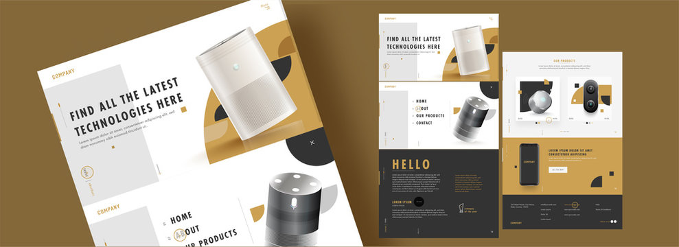 Web Template Design with Realistic Electronic Products and Details for Advertising Concept.