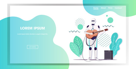 Wall Mural - robot playing guitar robotic character guitarist artificial intelligence technology concept horizontal full length copy space vector illustration