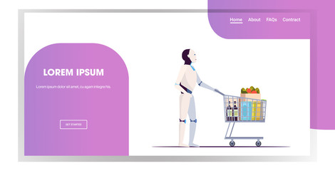 Wall Mural - robot pushing trolley cart full of groceries artificial intelligence technology shopping concept full length horizontal copy space vector illustration