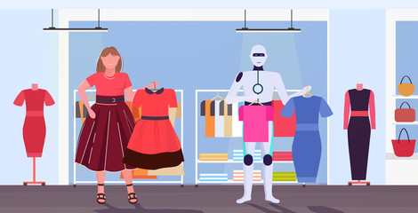 Wall Mural - robotic character and woman choosing dresses artificial intelligence technology shopping concept human vs robot fashion boutique interior horizontal full length vector illustration