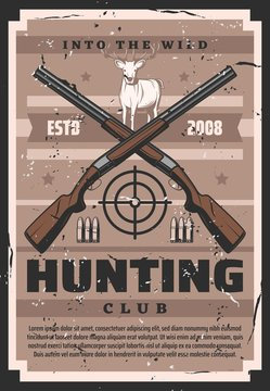Hunter guns with deer, target and hunter ammo of huntinng sport club vector design. Crossed rifles and shotguns with reindeer, forest animal antlers and bullets retro poster