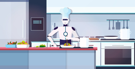 Wall Mural - modern robot chef cooking dish robotic cook preparing food artificial intelligence technology culinary concept modern kitchen interior horizontal portrait vector illustration
