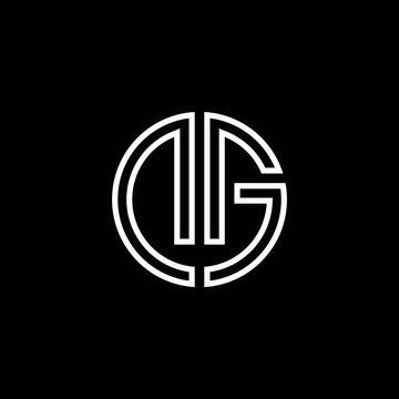 DG monogram logo circle ribbon style outline design template