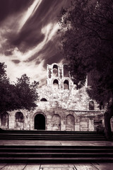 Entrance Walls to Odeon of Herodes Atticus - black and white