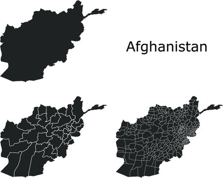 Afghanistan vector maps with administrative regions, municipalities, departments, borders