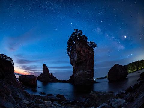三王岩と天の川
