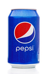 MINSK, BELARUS - November 26, 2019: Pepsi Can Isolated On White Background With Drops of Water. Pepsi is a carbonated soft drink.