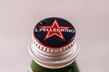 MINSK, BELARUS - October 18, 2019: San Pellegrino Italian bottle caps.