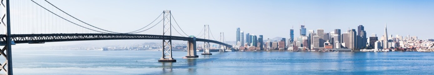 Wall Mural - San Francisco skyline with Oakland Bay Bridge, California, USA