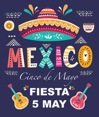 Beautiful vector illustration with design  for Mexican holiday 5 may Cinco De Mayo. Vector template with traditional Mexican symbols: Mexican sombrero, Mexican guitars