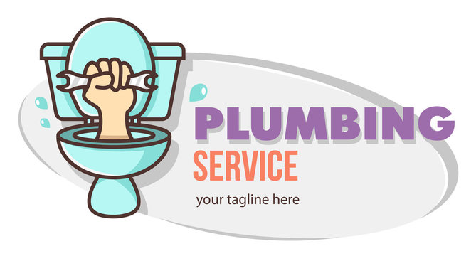 Funny humor concept hand holds a wrench climbs out of the toilet. Plumbing service sign. Design for print, emblem, t-shirt, party decoration, sticker, logotype